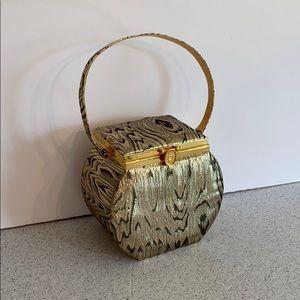 Vintage box bag purse evening bag gold metallic